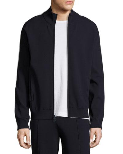 Side-Stripe Knit Track Jacket, blue/White