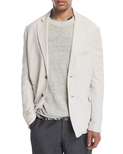 Relaxed Linen-Blend Blazer, Whisper White