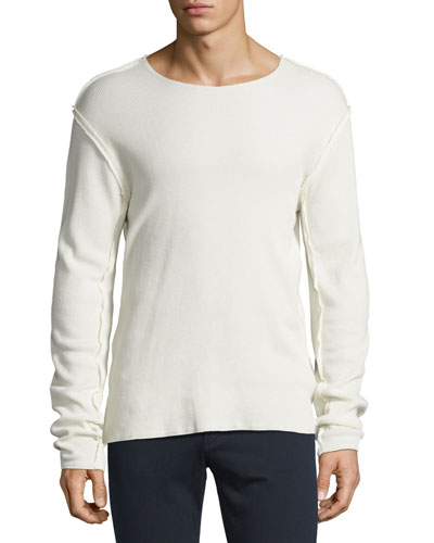 Raw-Edge Long-Sleeve T-Shirt, Off White