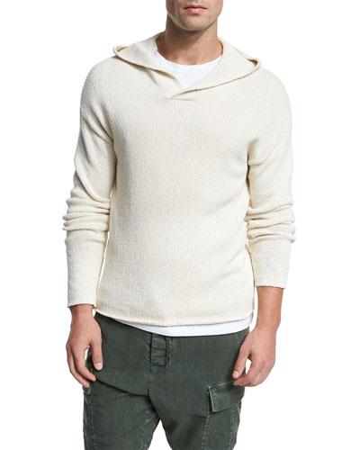 Textured Cotton Pullover Hoodie