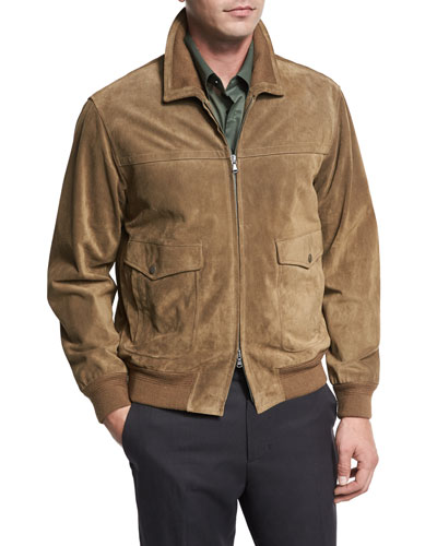 Suede Flight Jacket, Tobacco (Brown)