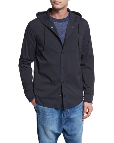 Water-Resistant Hooded Shirt Jacket, Coastal Navy Blue