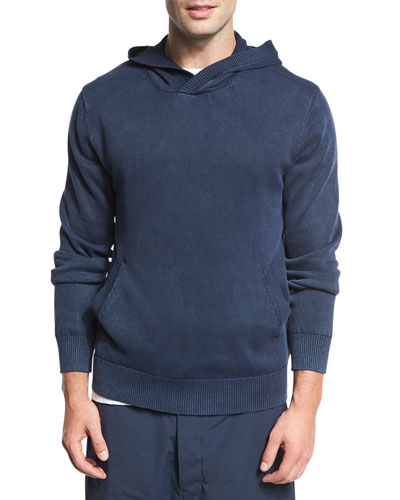 Garment-Dyed Cotton Hoodie, Coastal Navy Blue