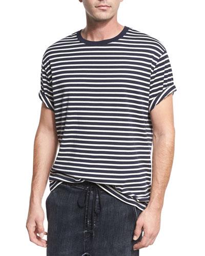 Breton-Striped Crewneck T-Shirt, Coastal Blue/Off White