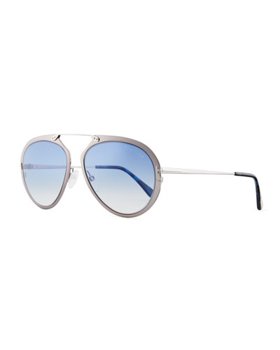 4ee1ecf3338d TOM FORD DASHEL 58MM AVIATOR SUNGLASSES - DARK RUTHENIUM  GRADIENT BLUE