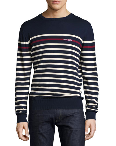 Logo Striped Crewneck Sweater