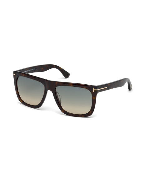 TOM FORD Morgan Thick Square Acetate Sunglasses, Tortoiseshell