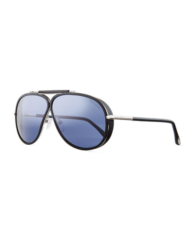 Cedric Acetate Aviator Sunglasses, Black