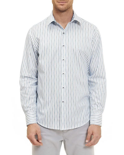 Vignesh Striped Sport Shirt, White