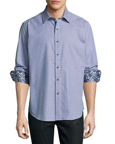Neel Jacquard Sport Shirt, Navy