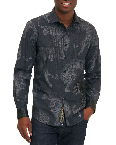 Tiger-Print Long-Sleeve Sport Shirt, Black