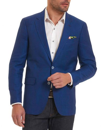 Woven Wool-Blend Sport Coat, Blue