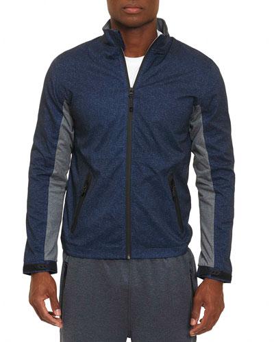 Crepe Full-Zip Jacket, Navy