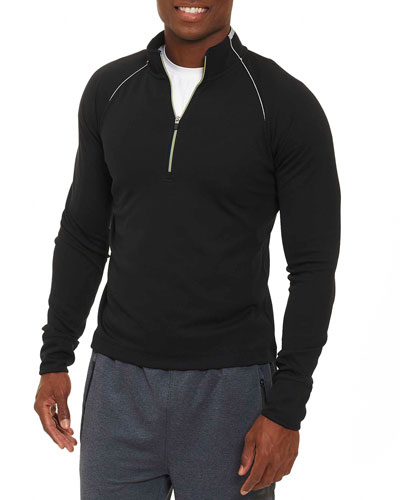 Knit Half-Zip Sweatshirt, Black