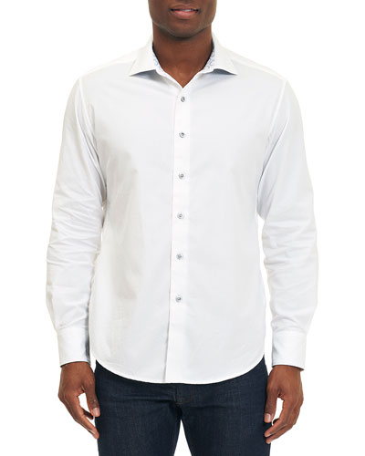 Tonal Diamond Jacquard Sport Shirt, White