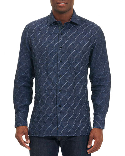 Linen Wave-Print Sport Shirt, Navy
