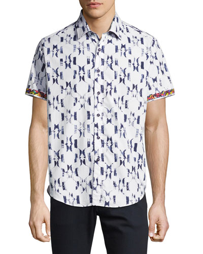 Parsis Geometric-Print Short-Sleeve Sport Shirt, White
