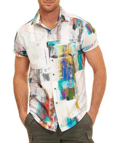 Paint-Print Short-Sleeve Shirt, White