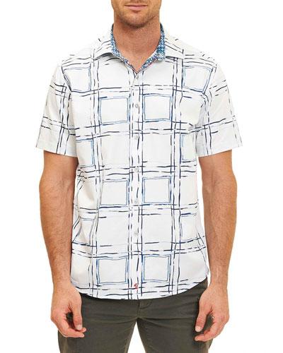 Square-Print Short-Sleeve Shirt, White