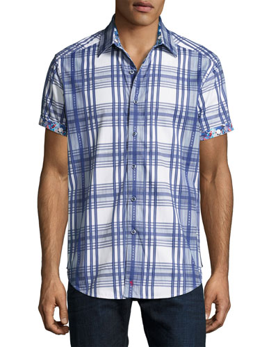 East Timor Plaid Short-Sleeve Sport Shirt, Blue
