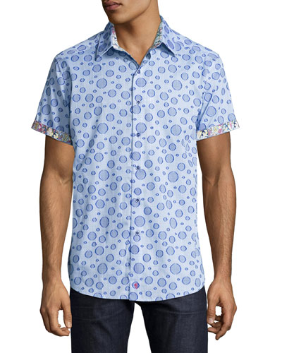 Phillipe Bubble Plaid Short-Sleeve Sport Shirt, Blue