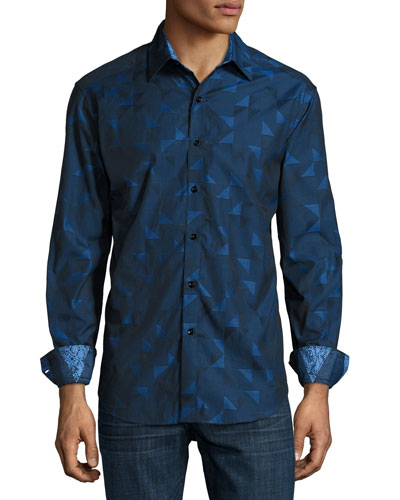 Terrence Geo-Print Classic Fit Sport Shirt, Navy