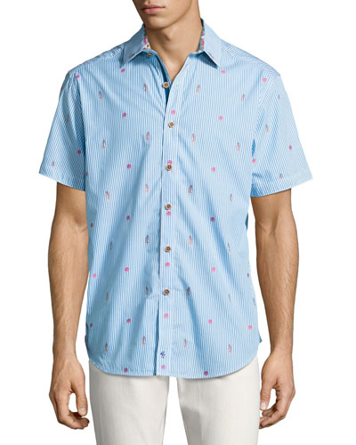 Randle Hawaiian Striped Short-Sleeve Shirt, Multicolor