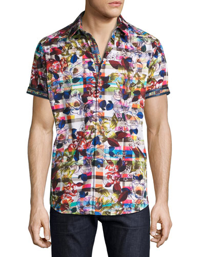 Floral-Print Short-Sleeve Sport Shirt, Multicolor