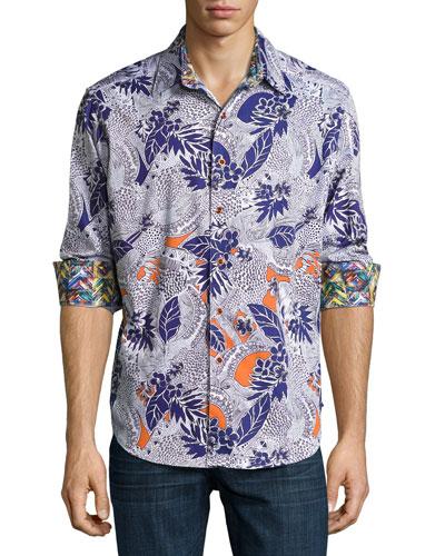 Minicoy Island Tropical-Print Sport Shirt, Multicolor