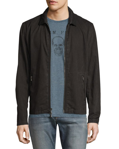 Zip-Front Denim Jacket, Black