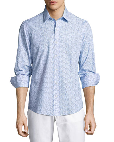 Munoz Paperclip-Print Sport Shirt, Blue