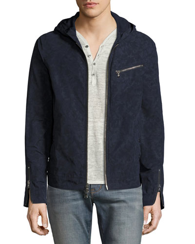Camouflage Hooded Zip-Front Jacket, Indigo