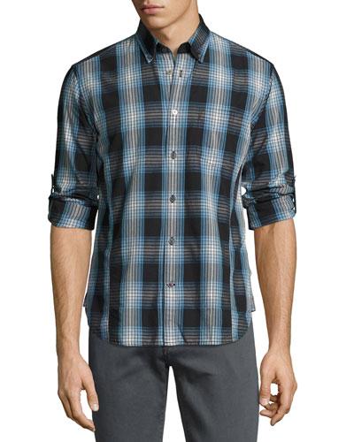 Mitchell Slim-Fit Scratch-Check Sport Shirt, Blue