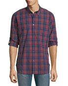 Mitchell Slim-Fit Plaid Short-Sleeve Shirt, Red