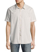 Mayfield Slim-Fit Short-Sleeve Windowpane Shirt, White