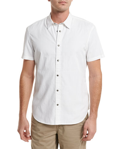 Grid-Stitch Short-Sleeve Snap Shirt, White