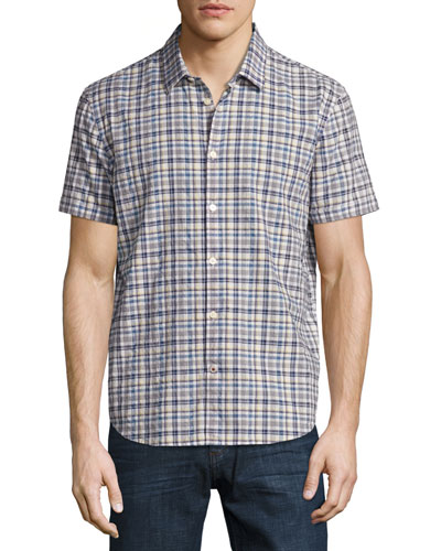 Plaid Short-Sleeve Woven Shirt, Red
