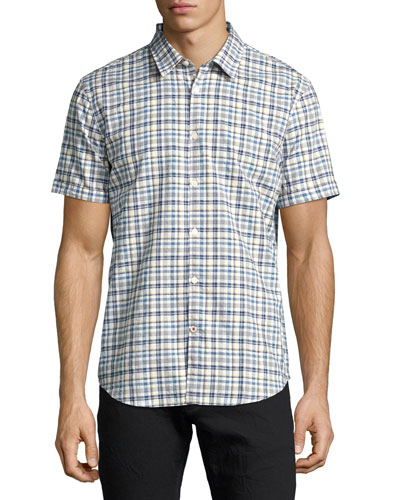 Mayfield Slim-Fit Plaid Sport Shirt, Medium Blue