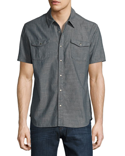 Snap-Front Short-Sleeve Sport Shirt, Gray
