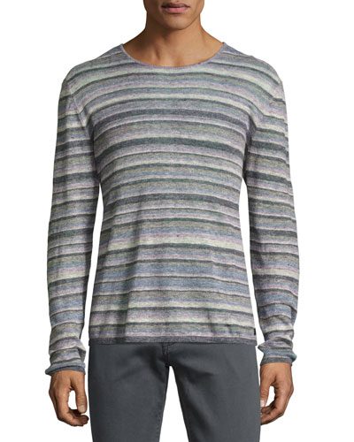 Striped Linen Crewneck Sweater, Blue/Multicolor