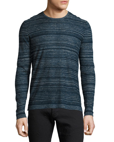 Varied-Stripe Crewneck Sweater, Navy