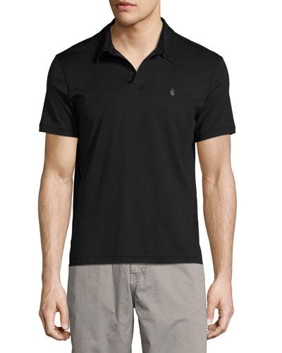 Soft-Collar Peace-Sign Polo Shirt, Black