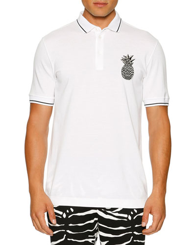 Contrast-Tip Pineapple Polo Shirt, White