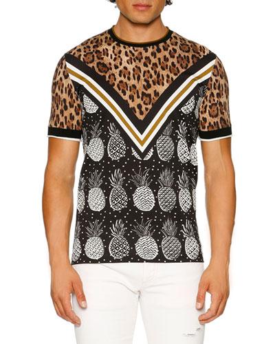 Leopard & Pineapple T-Shirt, Brown/Black/White
