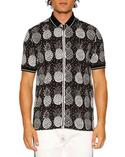 Pineapple Full-Zip Polo Shirt, Black/White