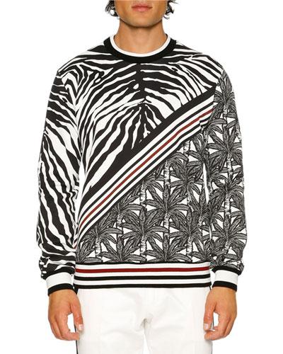 Zebra & Palm Tree Sweatshirt, Black/White/Red