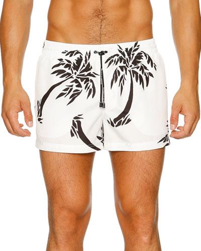 Palm Tree Swim Boxers & Bag, White/Black