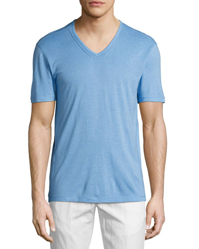 V-Neck Jersey T-Shirt, Blue