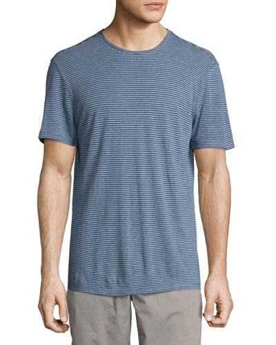 Striped Crewneck T-Shirt, Medium Blue