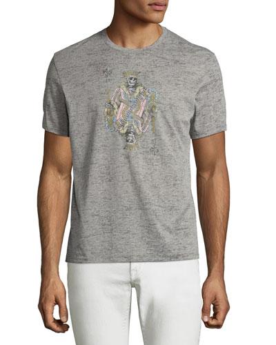 JV Skeleton King Graphic T-Shirt, Light Gray